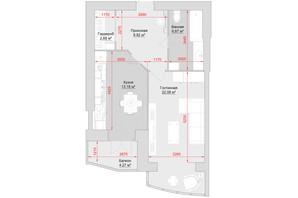ЖК по вул. Троїцька, 74: планування 1-кімнатної квартири 58 м²