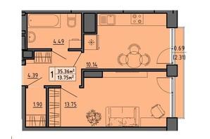 ЖК по вул. Винниченка: планування 1-кімнатної квартири 35.36 м²