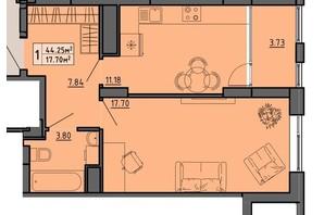 ЖК по вул. Винниченка: планування 1-кімнатної квартири 44.25 м²