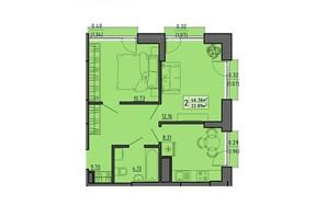 ЖК по вул. Винниченка: планування 2-кімнатної квартири 46.36 м²