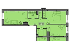ЖК по вул. Винниченка: планування 2-кімнатної квартири 60.3 м²