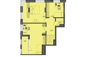 ЖК по вул. Винниченка: планування 3-кімнатної квартири 73.22 м²