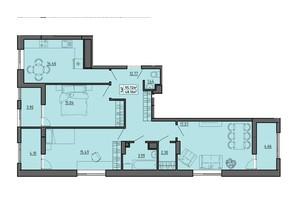 ЖК по вул. Винниченка: планування 3-кімнатної квартири 95.72 м²