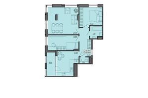 ЖК по вул. Винниченка: планування 3-кімнатної квартири 76.3 м²