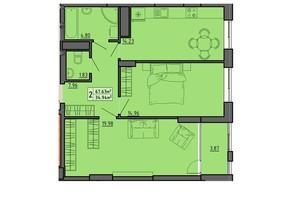 ЖК по вул. Винниченка: планування 2-кімнатної квартири 67.63 м²