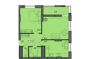ЖК по вул. Винниченка: планування 2-кімнатної квартири 66.42 м²