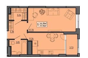 ЖК по вул. Винниченка: планування 1-кімнатної квартири 44.96 м²