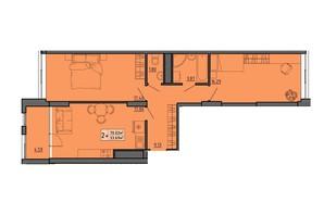 ЖК по вул. Винниченка: планування 2-кімнатної квартири 70.02 м²