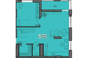 ЖК по вул. Винниченка: планування 4-кімнатної квартири 130.42 м²