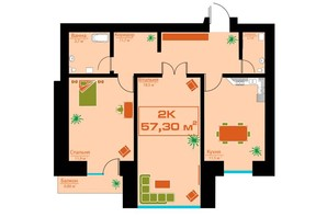 ЖК по вул. Залізничній 3: планування 2-кімнатної квартири 57.3 м²