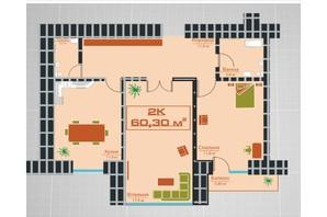 ЖК по вул. Залізничній 3: планування 2-кімнатної квартири 60.3 м²