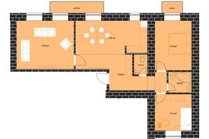 ЖК по вул. Залізничній 3: планування 3-кімнатної квартири 84.89 м²