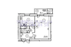 ЖК пр. М. Лушпы: планировка 1-комнатной квартиры 48.06 м²