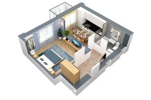 ЖК пр. М. Лушпы: планировка 1-комнатной квартиры 40.87 м²