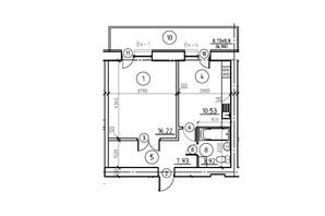 ЖК пр. М. Лушпы корпус 22/2: планировка 1-комнатной квартиры 45.58 м²
