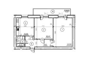 ЖК пр. М. Лушпы корпус 22/2: планировка 2-комнатной квартиры 72.78 м²