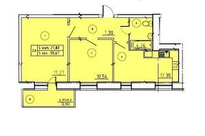 ЖК пр. М. Лушпы корпус 22/2: планировка 2-комнатной квартиры 55.67 м²