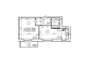 ЖК просп. Лушпи, корп. 6: планування 1-кімнатної квартири 52.02 м²