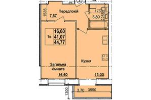 ЖК пров. Олега Кошового, 12: планування 1-кімнатної квартири 44.77 м²