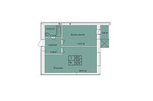ЖК the Best Village: планування 1-кімнатної квартири 52.79 м²