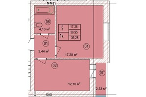 ЖК the Best Village: планування 1-кімнатної квартири 39.28 м²
