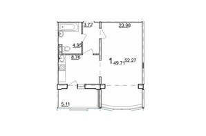 ЖК ул. Дагаева: планировка 1-комнатной квартиры 52.27 м²