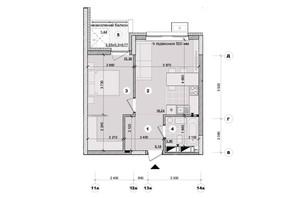 ЖК ул. Евгена Маланюка (Сагайдака), 101: планировка 1-комнатной квартиры 43.44 м²