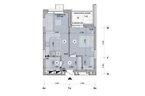 ЖК ул. Евгена Маланюка (Сагайдака), 101: планировка 1-комнатной квартиры 40.67 м²