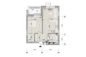 ЖК ул. Евгена Маланюка (Сагайдака), 101: планировка 1-комнатной квартиры 42.27 м²