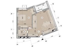 ЖК ул. Евгена Маланюка (Сагайдака), 101: планировка 2-комнатной квартиры 53.7 м²