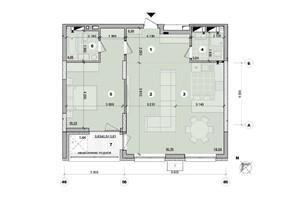 ЖК ул. Евгена Маланюка (Сагайдака), 101: планировка 1-комнатной квартиры 74.46 м²