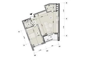 ЖК ул. Евгена Маланюка (Сагайдака), 101: планировка 1-комнатной квартиры 64.61 м²