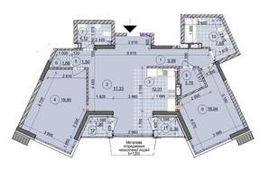 ЖК ул. Евгена Маланюка (Сагайдака), 101: планировка 3-комнатной квартиры 96.91 м²