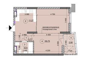 ЖК ул. Евгена Маланюка (Сагайдака), 101: планировка 1-комнатной квартиры 52.72 м²