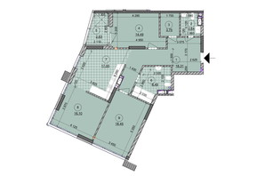 ЖК ул. Евгена Маланюка (Сагайдака), 101: планировка 3-комнатной квартиры 102.76 м²