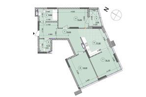 ЖК ул. Евгена Маланюка (Сагайдака), 101: планировка 3-комнатной квартиры 99.43 м²