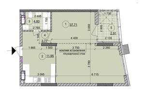 ЖК ул. Евгена Маланюка (Сагайдака), 101: планировка 1-комнатной квартиры 60.78 м²