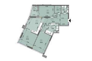 ЖК ул. Евгена Маланюка (Сагайдака), 101: планировка 3-комнатной квартиры 102.73 м²
