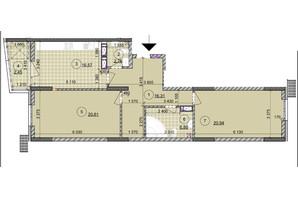 ЖК ул. Евгена Маланюка (Сагайдака), 101: планировка 2-комнатной квартиры 86.41 м²