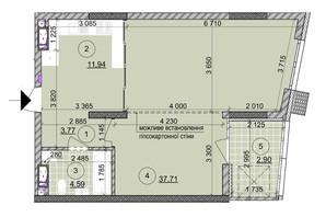 ЖК ул. Евгена Маланюка (Сагайдака), 101: планировка 1-комнатной квартиры 60.76 м²