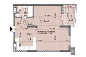 ЖК ул. Евгена Маланюка (Сагайдака), 101: планировка 1-комнатной квартиры 52.71 м²