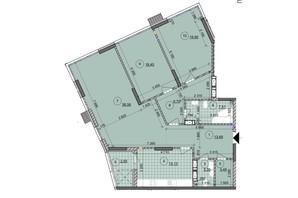ЖК ул. Евгена Маланюка (Сагайдака), 101: планировка 3-комнатной квартиры 132.34 м²