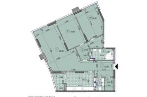 ЖК ул. Евгена Маланюка (Сагайдака), 101: планировка 3-комнатной квартиры 132.39 м²