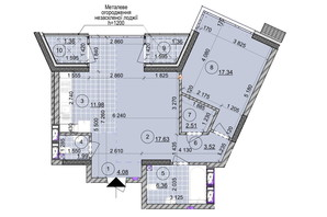 ЖК ул. Евгена Маланюка (Сагайдака), 101: планировка 2-комнатной квартиры 68.13 м²
