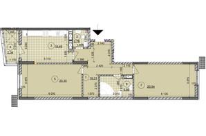 ЖК ул. Евгена Маланюка (Сагайдака), 101: планировка 2-комнатной квартиры 86.05 м²