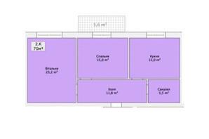 ЖК ул. Малиновского: планировка 2-комнатной квартиры 70 м²