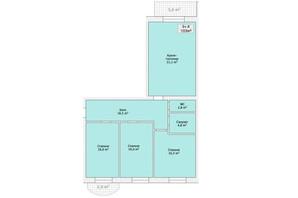 ЖК ул. Малиновского: планировка 2-комнатной квартиры 103 м²