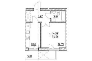 ЖК ул. На Нивах: планировка 1-комнатной квартиры 34.76 м²