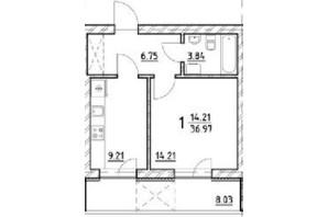 ЖК ул. На Нивах: планировка 1-комнатной квартиры 36.97 м²