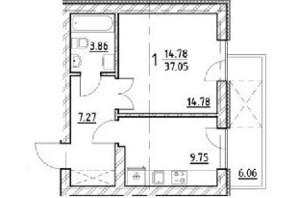 ЖК ул. На Нивах: планировка 1-комнатной квартиры 37.05 м²